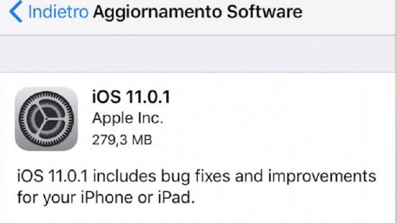 IOS 11: Apple rilascia la versione 11.01